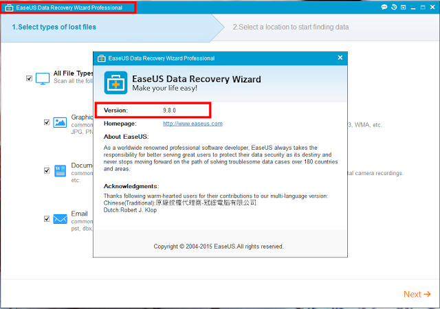 EaseUS Data Recovery Wizard 9.8.0