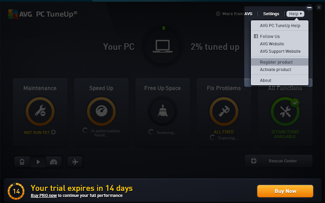 AVG PC TuneUp 2016 Activation Serial Key free